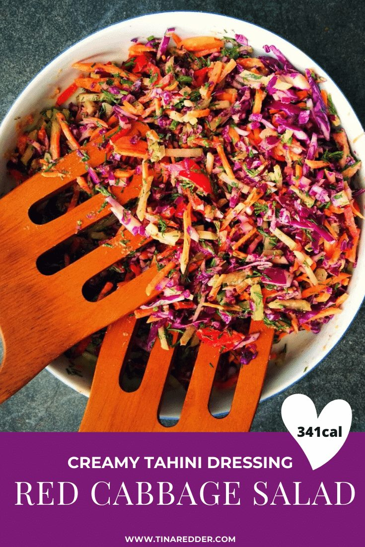 red cabbage salad with creamy tahini dressing