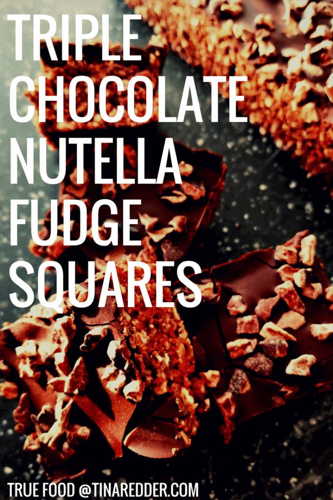 triple chocolate nutella fudge squares