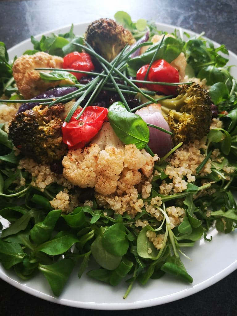 roasted vegetables quinoa bean platter