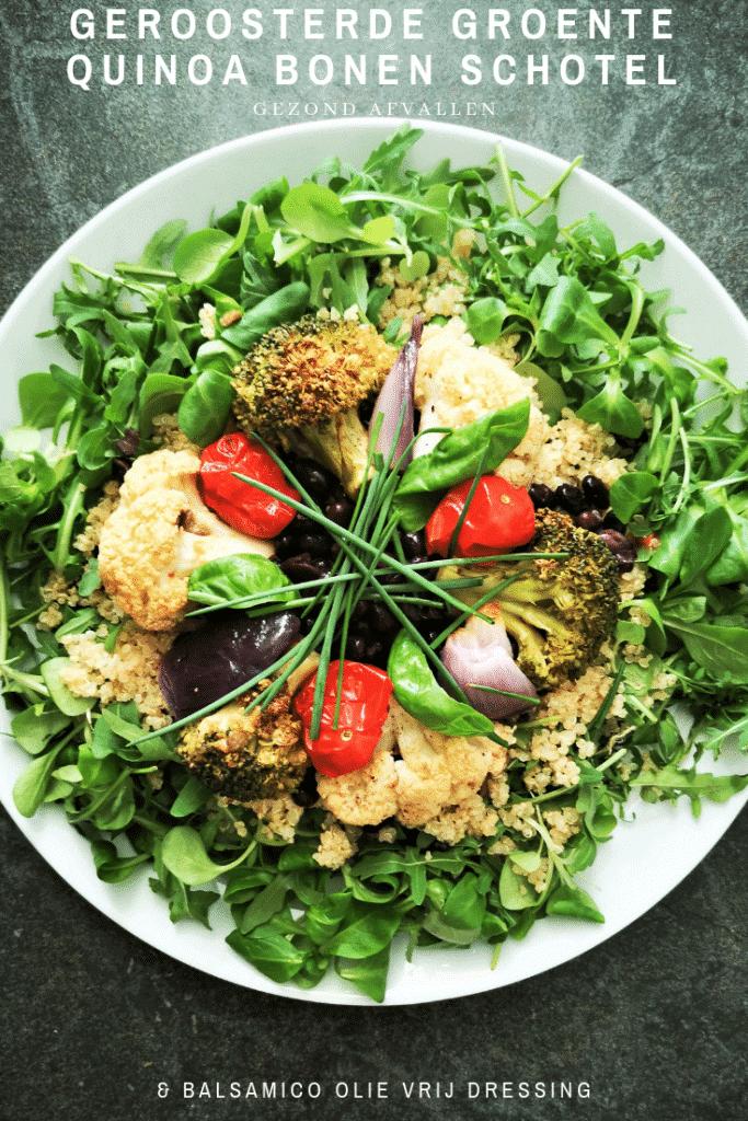 geroosterde groente quinoa bonen schotel