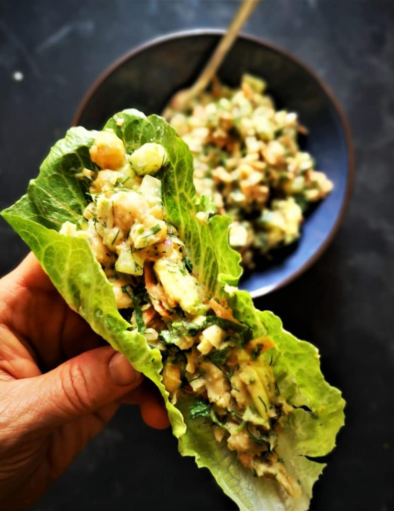 creamy chickpea avocado salad