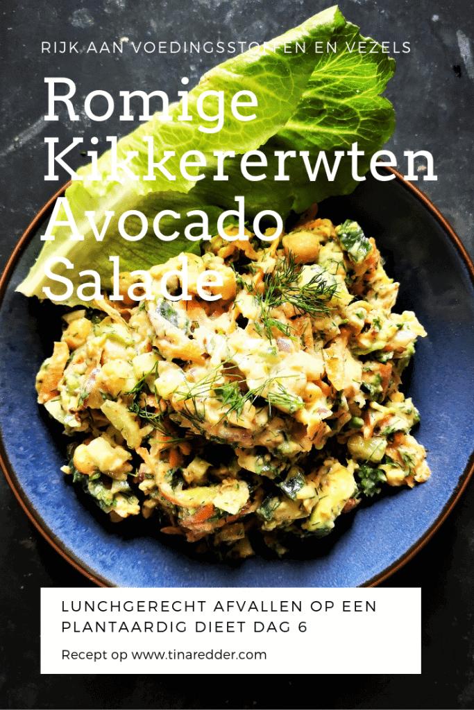 romige kikkererwten avocado salade