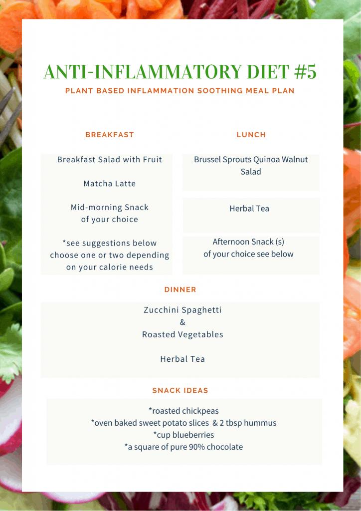 anti-inflammatory diet 5 meal plan
